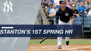 Giancarlo Stanton hits his first HR of spring with the Yankees