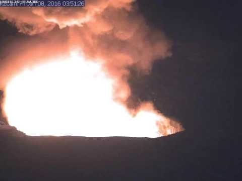 Early morning explosive event at Kilauea summit lava lake