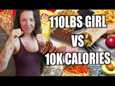 EPIC: 110LBS GIRL VS. 10,000 CALORIES!! (VEGAN)
