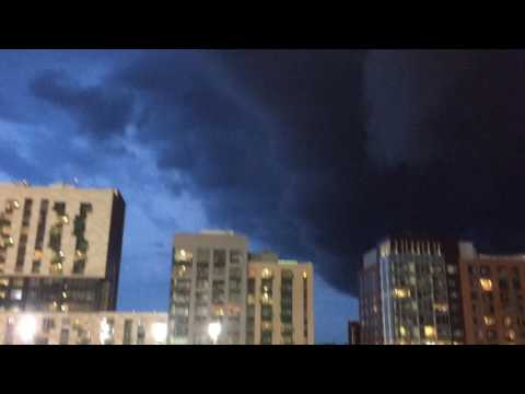 Thunder and lightning approaching Fenway Park during Red Sox game, June 27, 2017