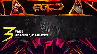3 Free Headers/Banners PS and C4D by Qehzy