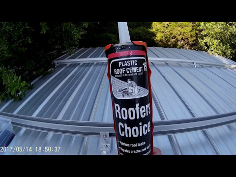 Adding plastic roof cement to SnapNRack Solar Rails metal roof base