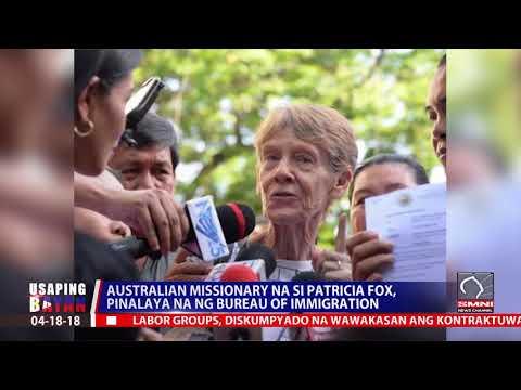 Australian missionary na si Patricia Fox pinalaya na ng Bureau of Immigration