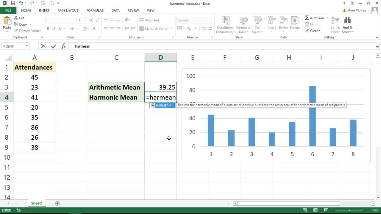 Calculate The Harmonic Mean In Excel