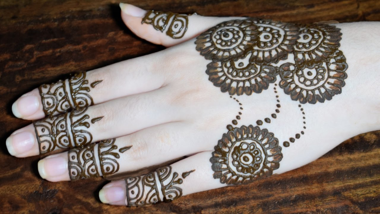 Mehndi Party Pictures : Latest henna mehndi design for hands simple party