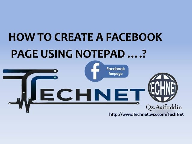 How To Create A Facebook Page Using Notepad
