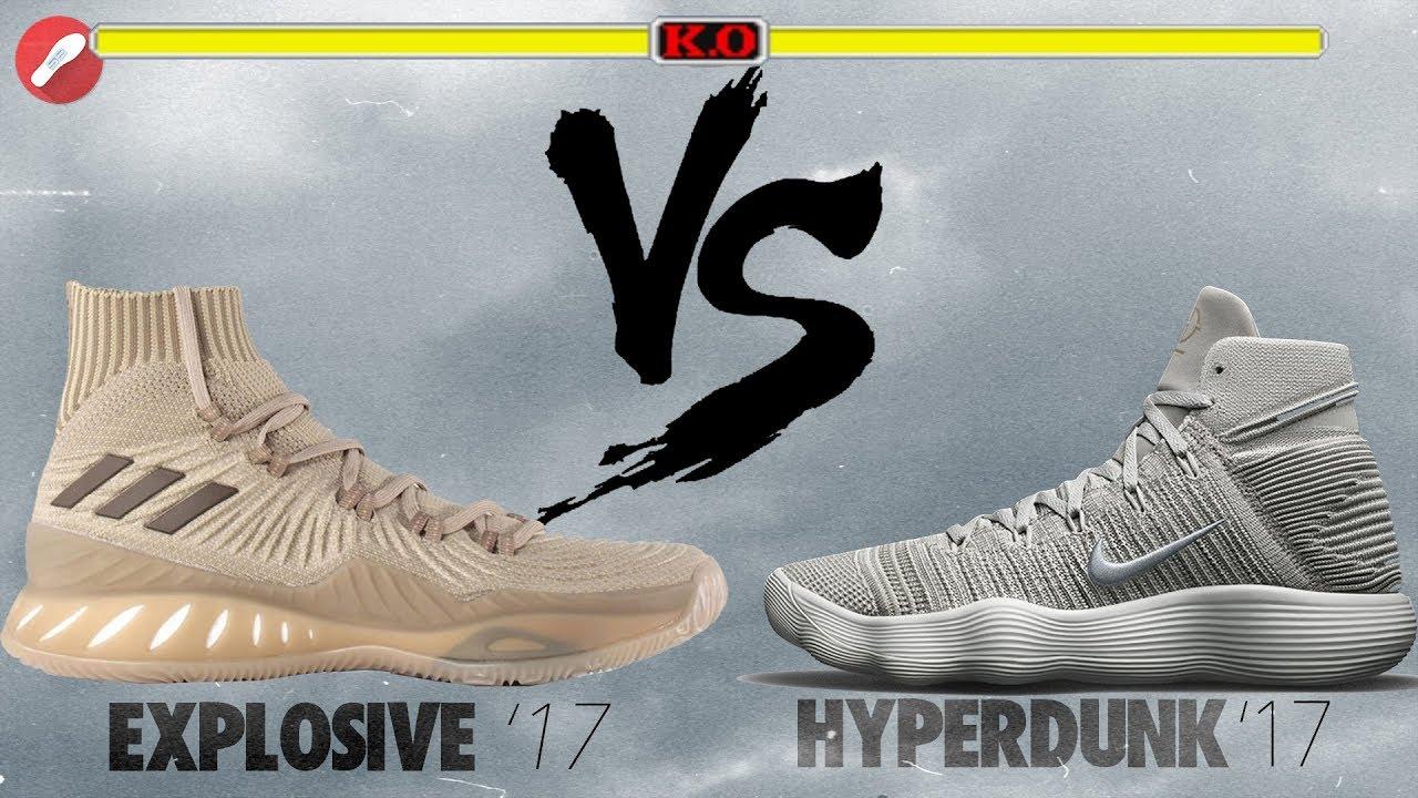 adidas crazy explosive 2017 primeknit vs nike hyperdunk