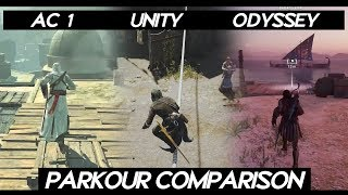 "AC Odyssey ""PARKOUR COMPARISON"" with all ASSASSINS CREED Games 