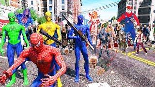 Spider-Man, Green Spiderman, Blue Spiderman, Yellow Spiderman VS Zombie Apocalypse