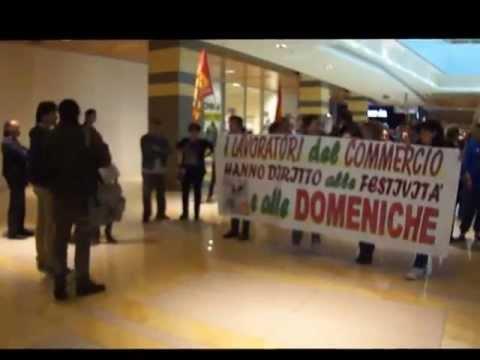 Manifestazione di protesta dell'USB al Centro Commerciale Porta di Roma