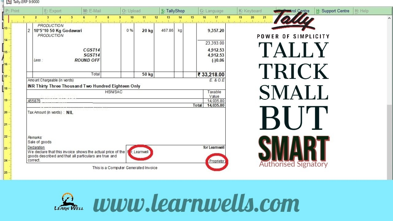 Tally ERP9 Tricks | Small but Smart Trick | 11 | Learnwell | INVOICE IV