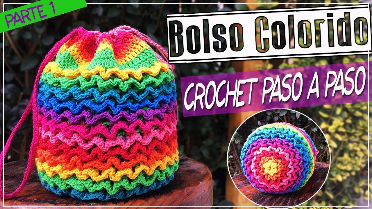 Bolso o morral tejido en crochet punto squiggle paso a - Bolsos tejidos a crochet ...
