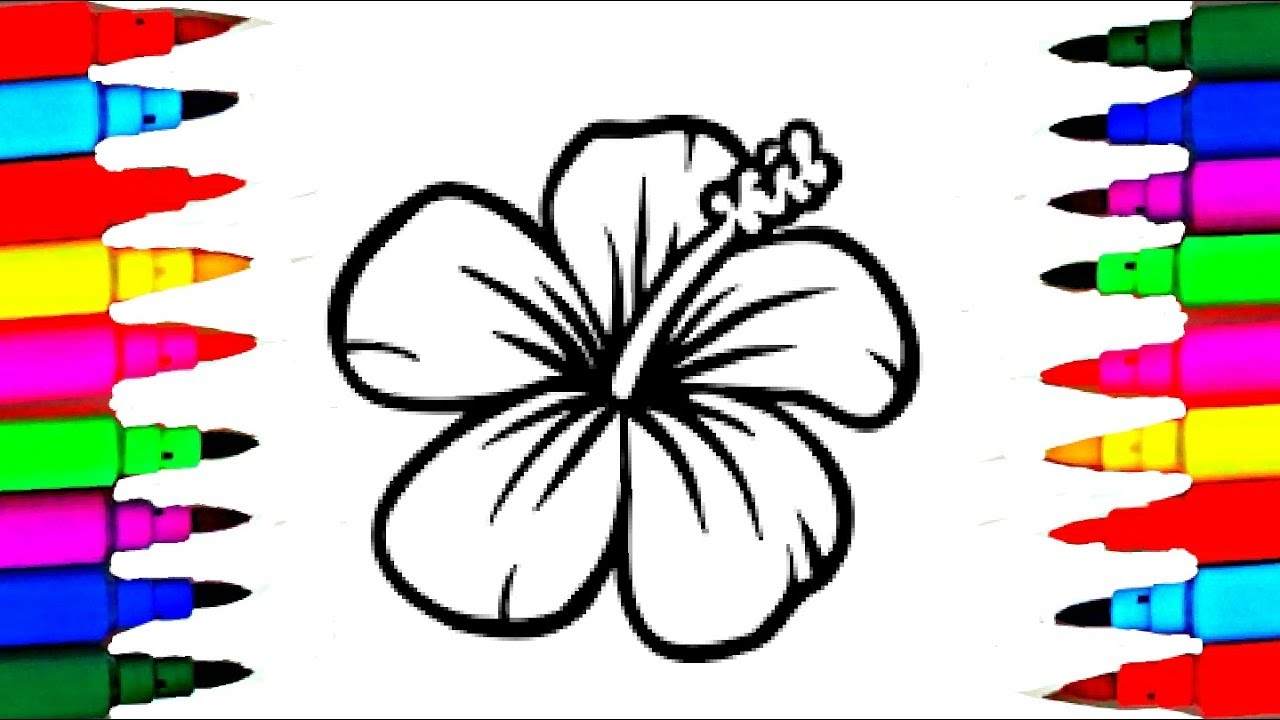 How To Draw And Paint Simple Flower Coloring Pages And