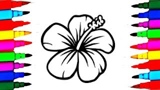 How to Draw and Paint Simple Flower Coloring Pages and Drawings for Babies / Art Colors for Youtube