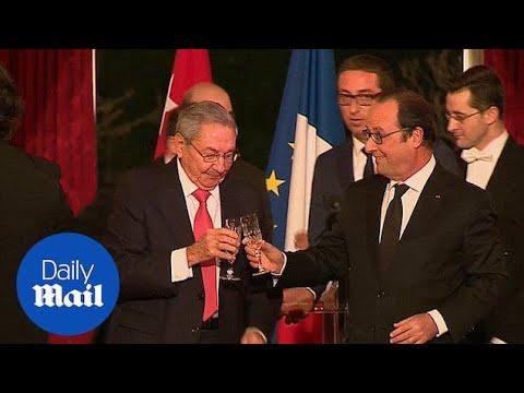 Lavish dinner for Cuban President Raul Castro in Paris - Daily Mail