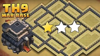 "Clash Of Clans - ""EPIC!"" TH9 ANTI 3 STAR WAR BASE! / CoC TOWN HALL 9 TROPHY BASE DEFENSE 2016!"