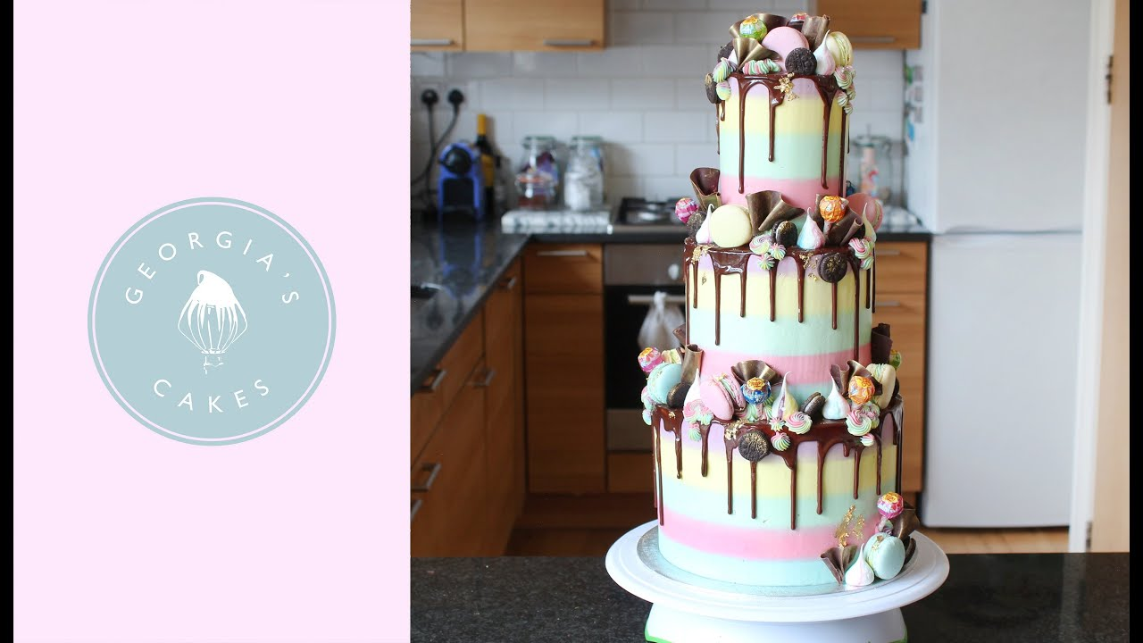 How To Make A 3 Tier Rainbow Drip Cake Georgia S Cakes Youtube