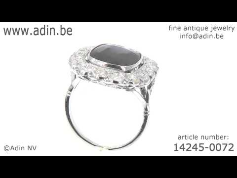 Belle Epoque Art deco Lady Di engagement ring big sapphire diamonds. (Adin reference: 14245-0072)