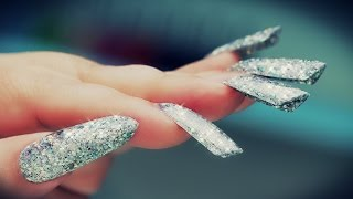 Edge Glitter Acrylic Nails - Step by Step Tutorial