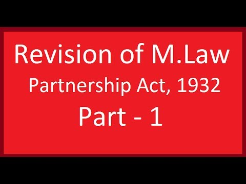 Revise Entire Indian Partnership Act,1932 (M. Law/CA CPT) Part 1 by CA. Harish Miglani