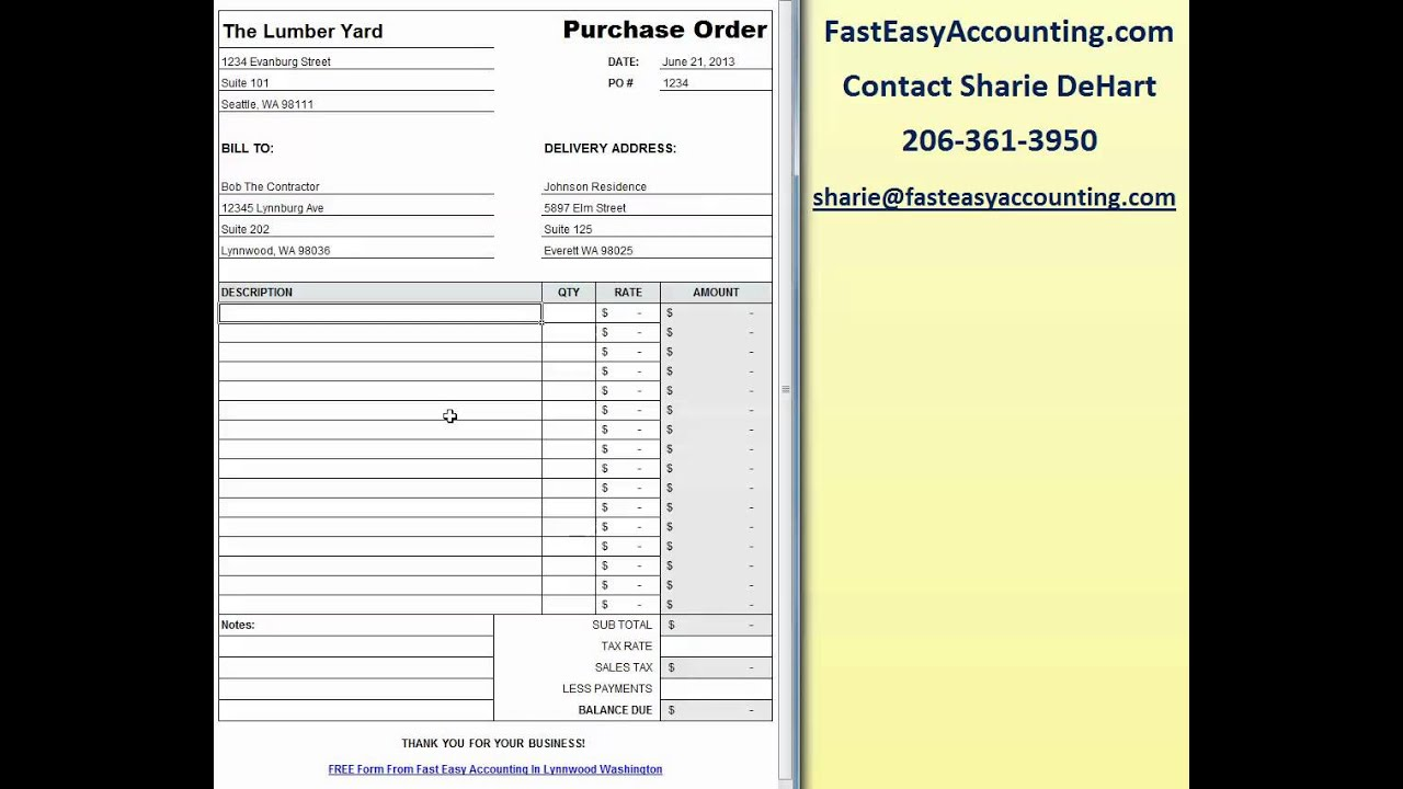 Free Contractor Purchase Order Template On Excel Download By Fast Easy  Accounting   YouTube  Free Po Template