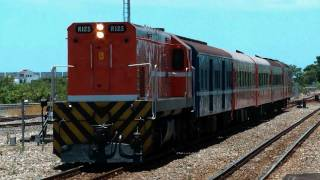 [HD] The Taiwan TRA GM EMD G22U R125 haul the up train arrive the Taitung Station