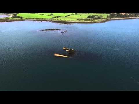 Sunken boad in Strangford Lough from Drone
