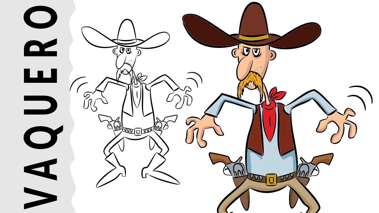 Cómo dibujar un Vaquero paso a paso con música country por dibujart ...
