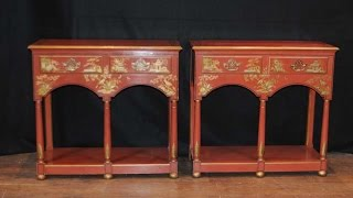 Pair French Chinese Lacquer Tables Sideboards Servers Chinoiserie
