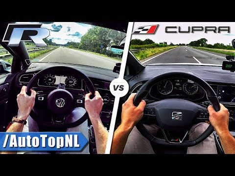 VW Golf R 310HP vs 300HP Seat Leon Cupra   ACCELERATION TOP SPEED POV & SOUND by AutoTopNL