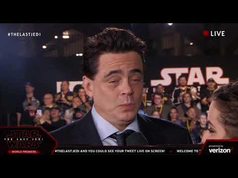 Benicio Del Toro DJ interview - Star Wars The Last Jedi Red Carpet World Premiere