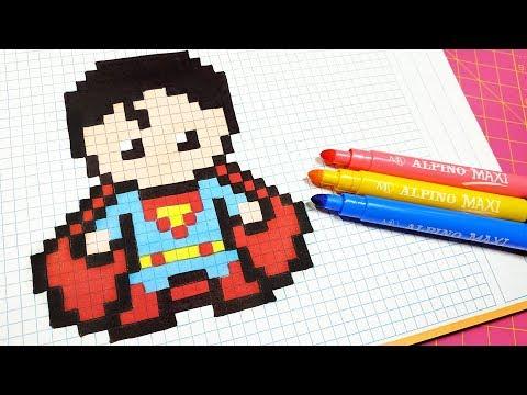 Handmade Pixel Art - How To Draw Superman  #pixelart