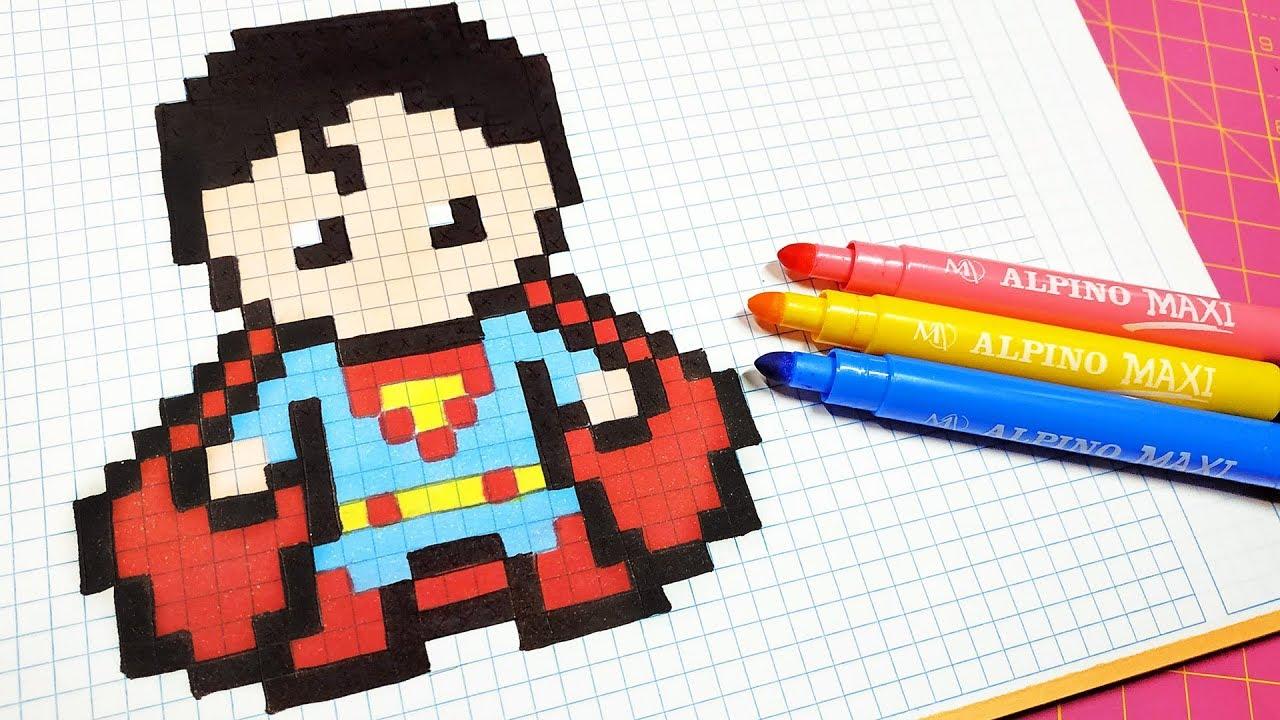 Handmade Pixel Art How To Draw Superman Pixelart