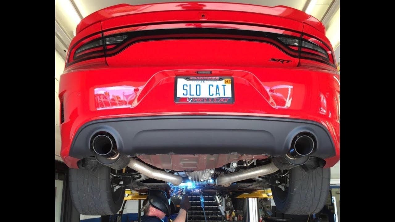 hellcat charger exhaust stock vs mid muffler delete