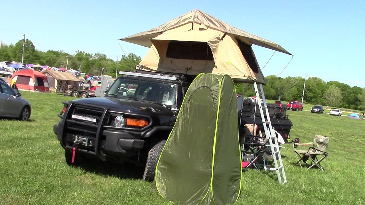 toyota fj cruiser roof tent setup - youtube
