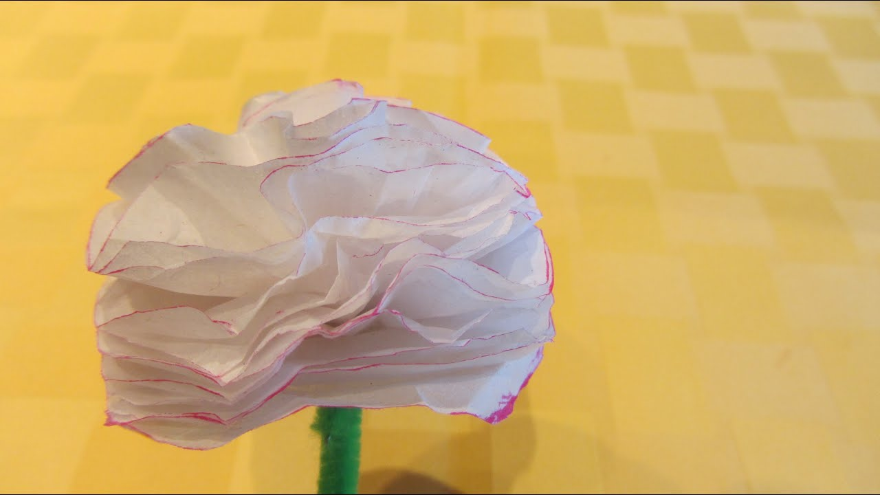 How To Make A Easy Carnation Tissue Paper Flower Youtube