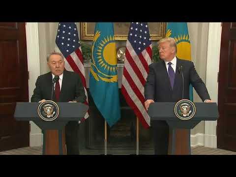 President Trump makes joint statement with President Nursultan Nazarbayev of Kazakhstan.Jan 16,2018.