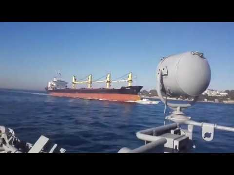 Collision In The Bosphorus Filmed From Russian Military Ship