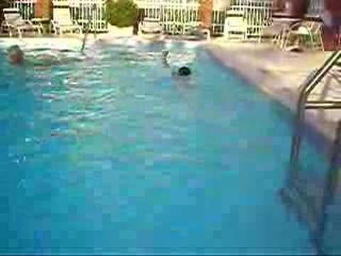 chandler swims across the pool