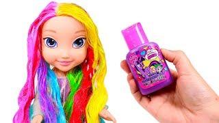 BABE ELSA ⛄ Aprende los colores del arco iris peinando a Elsa Frozen