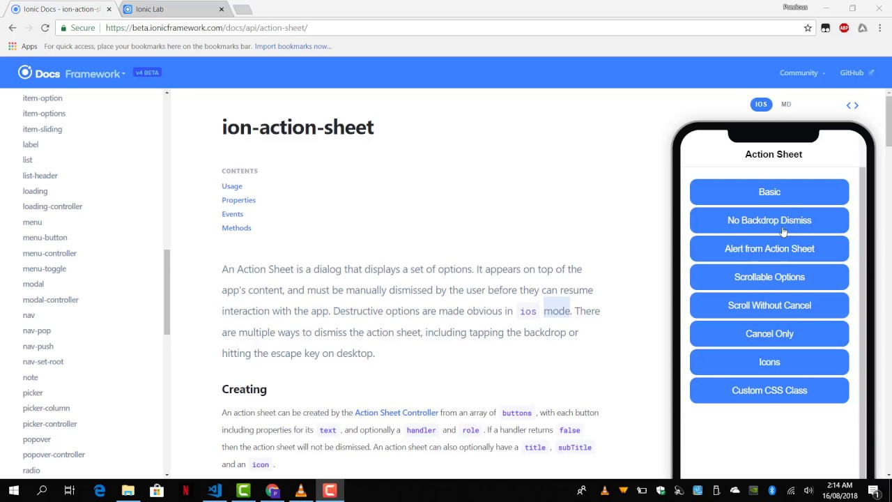 #10 - Journey to Ionic 4 Land - Core Components - Action Sheet