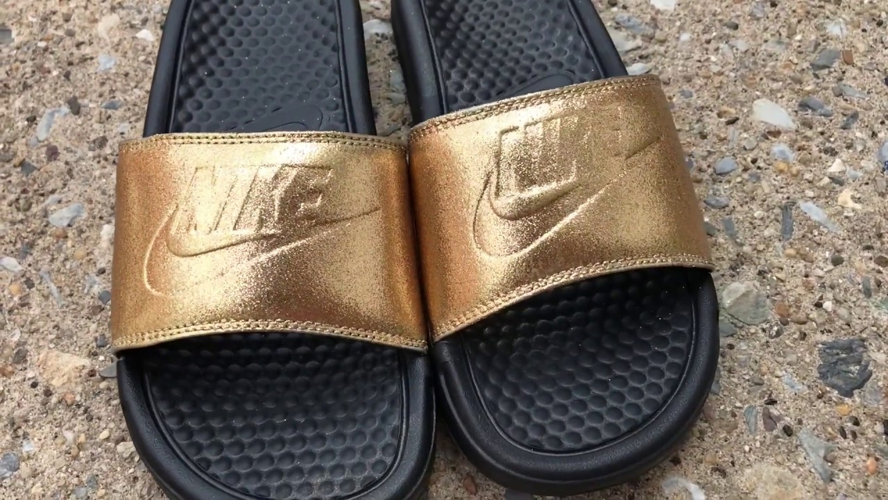 Custom Gold Glitter Nike slides - YouTube e8f858329