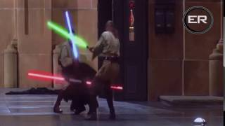 Obi Wan and Qui Gon vs Darth Maul, but every time light sabers touch Carl Wheezer says croissant