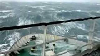 ship in storm 90ft waves