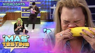 Vice Ganda can't stop laughing at Juliana eating corn   It's Showtime Mas Testing
