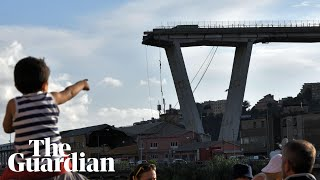 'It was like being in a film': ex-footballer on surviving Genoa bridge collapse – audio