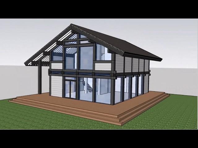Построение модели двухэтажного фахверкового дома 204 кв м в SketchUp. Выпуск #52
