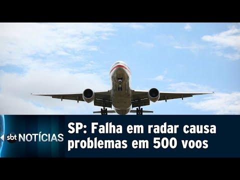 Falha em radar atrapalha ao menos 500 voos em aeroportos de SP | SBT Notícias (21/07/18)
