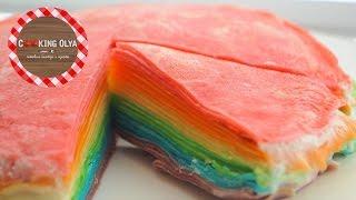 Радужный торт из блинов | Rainbow-cake | Быстрый и простой рецепт от CookingOlya