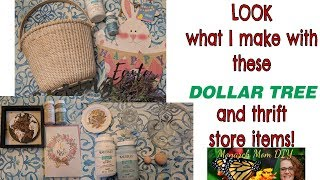DOLLAR TREE THRIFT STORE FARMHOUSE SPRING EASTER DECOR DIY #farmhousedecor #dollartreediy
